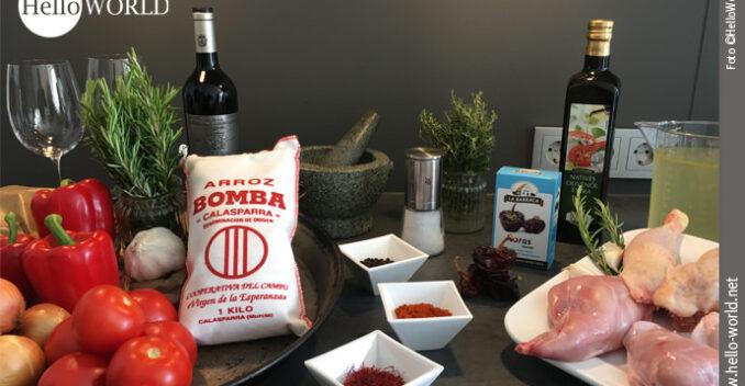 Das Bild zeigt die Zutaten zum Rezept Paella á la HelloWorld.