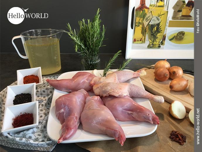 Hier sieht man Fleisch, Gewürze und Gemüse - Zutaten für die Paella á la HelloWorld, eine Erinnerung an den Camino del Norte.