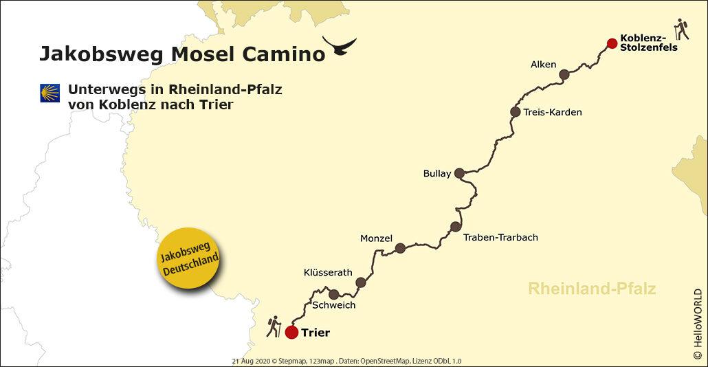 Auf dieser Landkarte sieht man die Route des Mosel-Camino von Koblenz bis Trier.