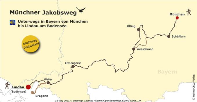 Das Bild zeigt eine Karte mit dem Münchner Jakobsweg.