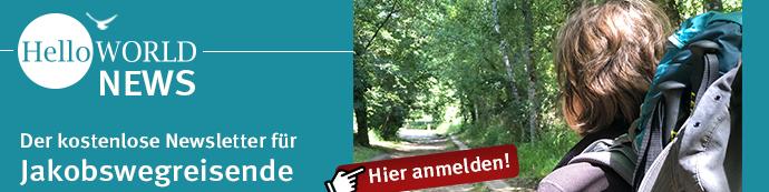 Banner für HelloWorld News, der Newsletter für Jakobswegreisende