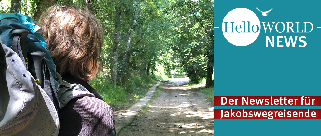 Titelseite von HelloWORLD News, dem Newsletter für Jakobswegreisende