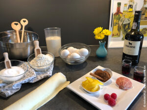 Hier sieht man die Zutaten für Pasteis de Belem.