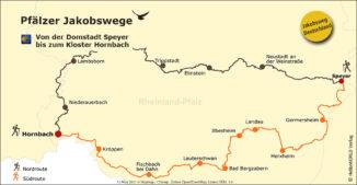 Hier sieht man die Karte mit der Route des Pfälzer Jakobsweges.