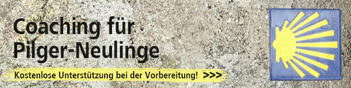 Dieses Bild zeigt einen Werbebanner für Jakobsweg-Coaching für Pilger-Neulinge.