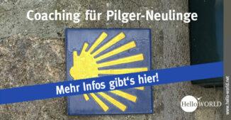 Auf dem Bild sieht man eine gelbe Jakobsmuschel vor blauem Hintergrund, die symbolisch für das kostenlose Pilger-Coaching für den Jakobsweg steht.