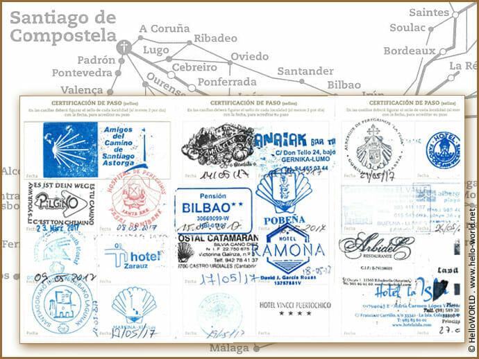 Hier sieht man die Stempel der Unterkünfte im offiziellen Pilgerpass des Jakobsweges in Spanien.