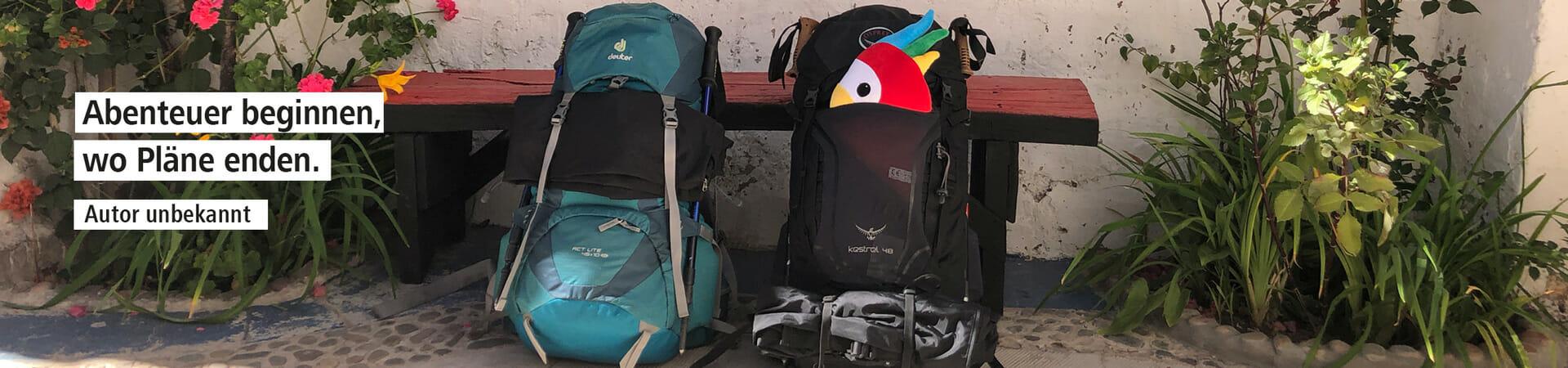 Dieses Banner-Bild zeigt die zwei Rucksäcke von Andrea und Nico auf ihrem Abenteuer 100 Tage Südamerika