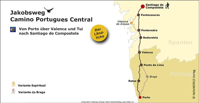 Hier sieht man die Karte des Jakobsweges Camino Portugues Central