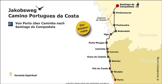 Das Bild zeigt die Route des portugiesischen Jakobsweges da Costa.