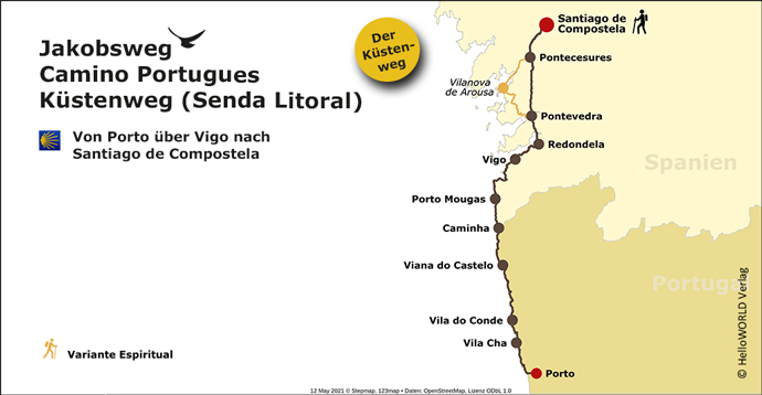 Karte des Camino Portugues Küstenwegs (Senda Litoral)