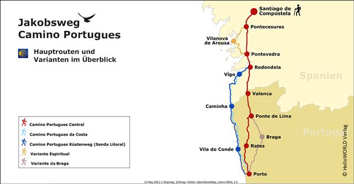 Hier sieht man die Hauptrouten und Varianten des portugiesischen Jakobswegs im Überblick.