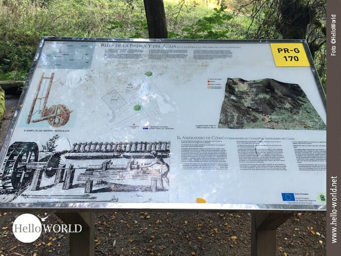 Auf dieser Informationstafel auf dem Caminho Portugues sind Skizzen zu sehen, die die Holzverarbeitung hier auf der Ruta de Pedra e da Auga zeigen.