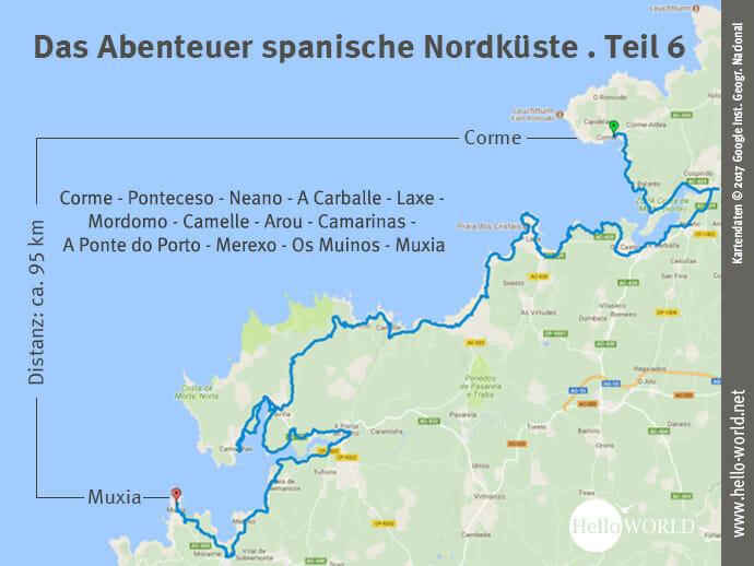Das Bild zeigt eine Landkarte, auf der die sechste Camino del Norte Etappe entlang der Costa da Morte von Corme nach Muxia dargestellt ist.