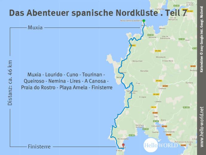 Das Bild zeigt eine Landkarte, auf der der siebte und damit letzte Streckenabschnitt entlang der Costa da Morte an der spanischen Nordküste von Muxia nach Finisterre dargestellt ist.