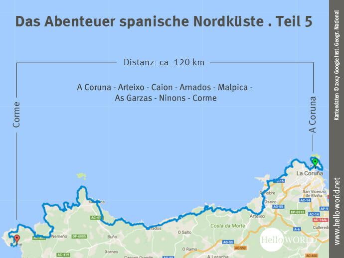 Das Bild zeigt eine Landkarte, auf der die fünfte Camino del Norte Etappe entlang der spanischen Nordküste von Ribadeo nach A Coruna dargestellt ist.