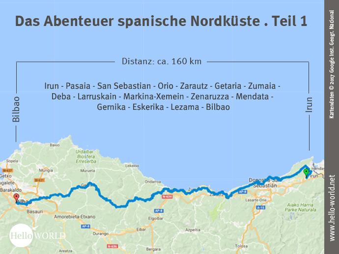 Das Bild zeigt eine Landkarte, auf der der erste Streckenabschnitt entlang der spanischen Nordküste von Irun nach Bilbao dargestellt ist.