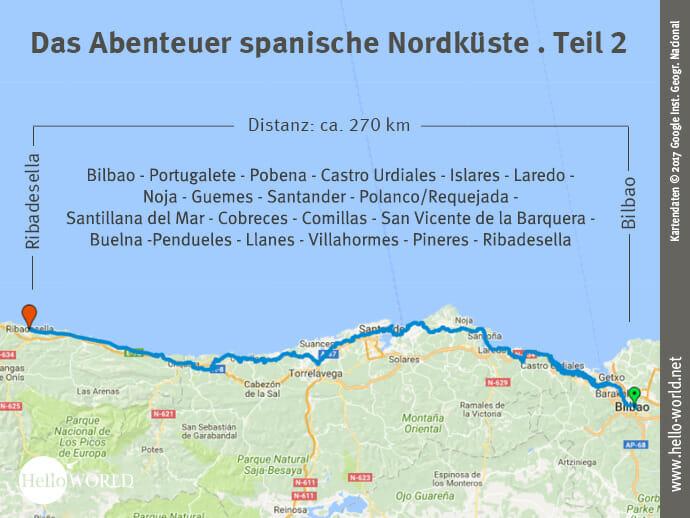 Das Bild zeigt eine Landkarte, auf der der zweite Streckenabschnitt entlang der spanischen Nordküste von Bilbao nach Ribadesella dargestellt ist.