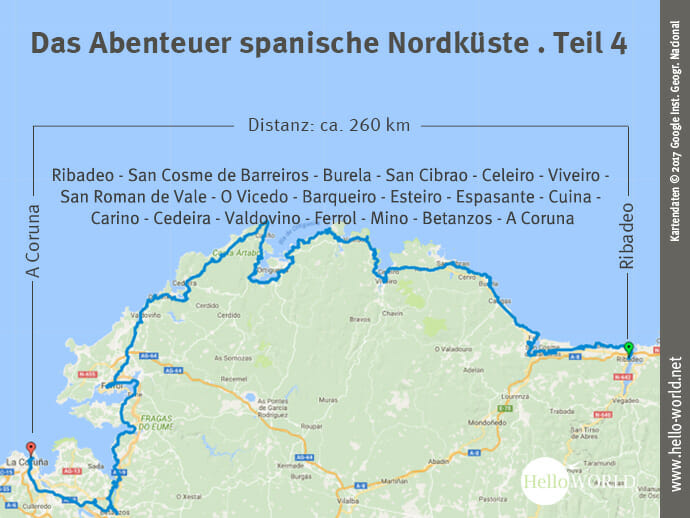 Das Bild zeigt eine Landkarte, auf der die vierte Camino del Norte Etappe von Ribadeo bis nach A Coruna eingezeichnet ist.