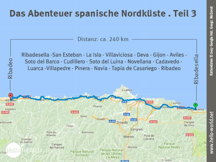 Das Bild zeigt eine Landkarte, auf der der dritte Streckenabschnitt entlang der spanischen Nordküste von Ribadesella nach Ribadeo dargestellt ist.