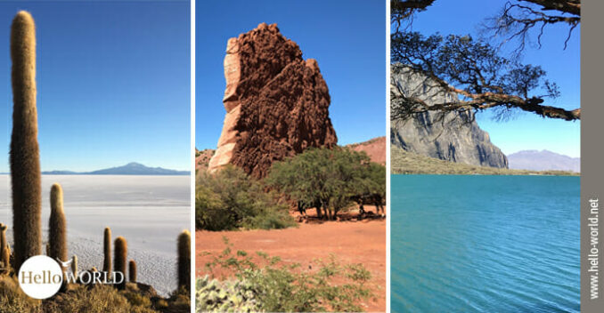 Hier sieht man drei Bilder aus Südamerika, die Landschaftsaufnahmen zeigen und der Einstieg zur Galerie sind.