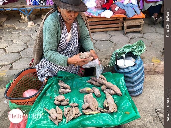 Eigene Ernte zum Verkauf: Marktfrau in Südamerika