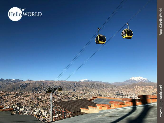 Hochmoderne Seite von La Paz: das Transportmittel Seilbahn