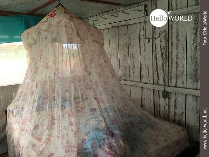 Dieses Bild aus dem bolivianischen Regenwald zeigt ein Bett in einer Bretterbude über dem ein mit rosa Rosen verziertes Moskitonetz hängt.