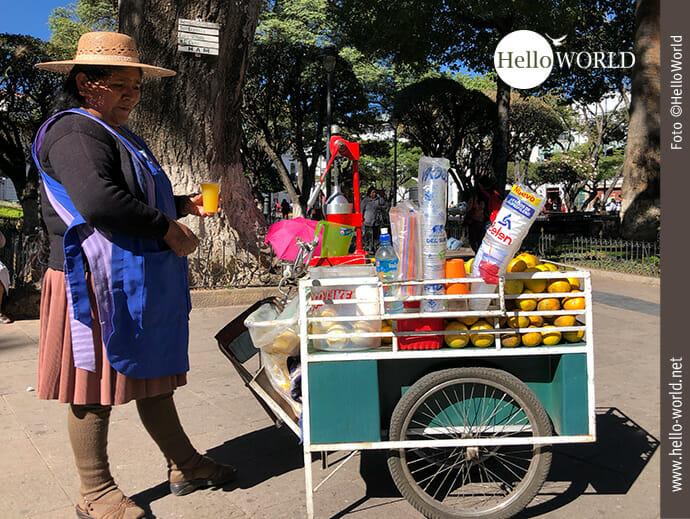 Das Bild aus Sucre, Südamerika, zeigt eine Indigena mit ihrem mobilen Saftstand auf dem Plaza 25 de Mayo.