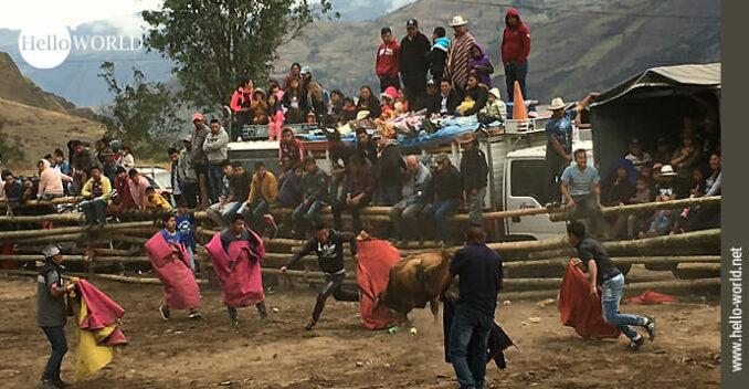 Das Bild stammt aus Ecuador und zeigt eine Szene aus einem Stierkampf in einem kleinen Dorf, bei dem Menschen auf Fahrzeugen stehen und zusehen.