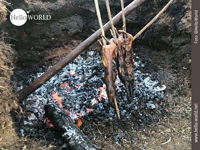 Alternative Zubereitung: Cuy am Spieß über offenem Feuer