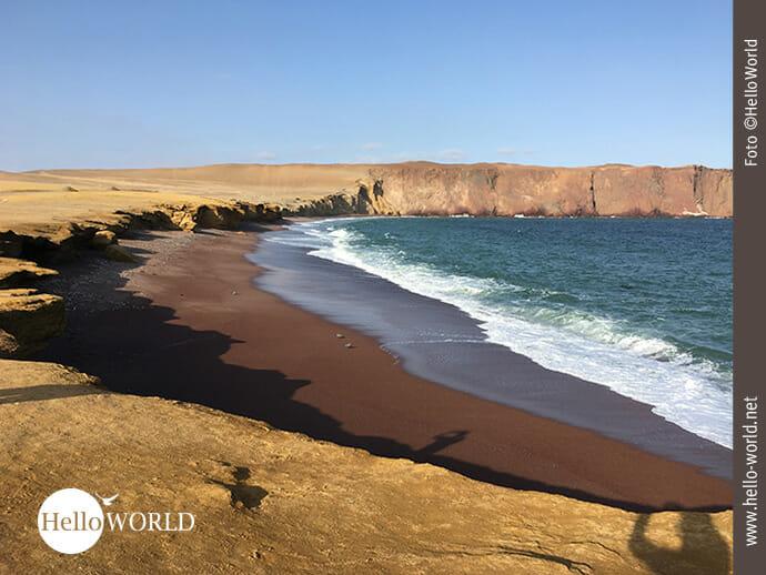 Playa Roja: der rote Strand im Nationalreservat Paracas