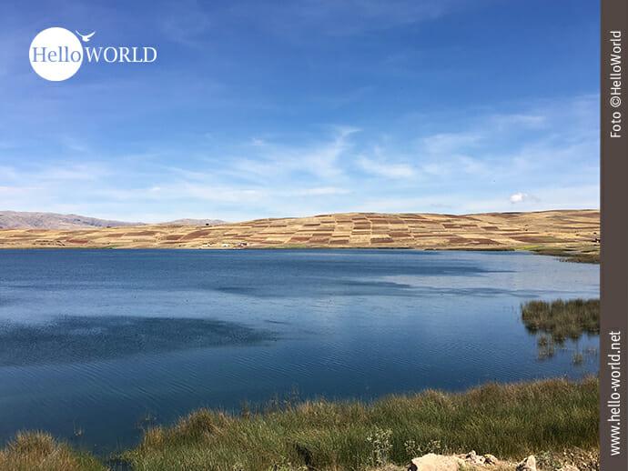 Dieses Bild aus Peru wurde bei der Lagune Huaypo im Valle Sagrado aufgenommen und zeigt die typischen mosaikartigen Felder im Hintergrund.