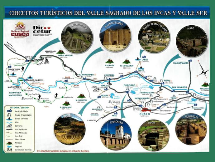 Diese Abbildung zeigt eine Karte vom Valle Sagrado in Peru, auf der die Ortschaften und Sehenswürdigkeiten angegeben sind.