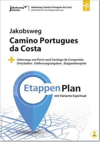 Hier sieht man den Titel der Arbeitshilfe für die Camino Portugues da Costa Etappenplanung.