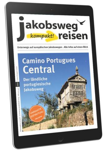 Hier sieht man das Titelbild des emagazins mit einem Horreo, typisches Zeichen für den Camino Portugues Central