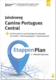 Hier sieht man den Titel des Etappenplans für den Camino Portugues Central