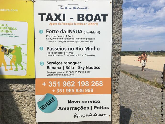 Hier sieht man ein Plakat mit Werbung für ein Taxiboot, um auf dem Jakobsweg den Rio Minho zu überqueren.