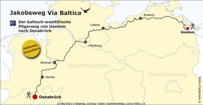 Die Via Baltica mit ihrem Verlauf durch Deutschland wird in dieser Karte dargestellt.
