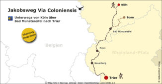Hier sieht man die Strecke der Via Coloniensis auf einer Landkarte.