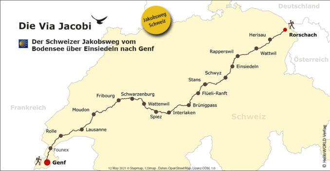 Hier sieht man eine Karte mit dem Routenverlauf der Via Jacobi in der Schweiz, die vom Bodensee zum Genfer See führt.
