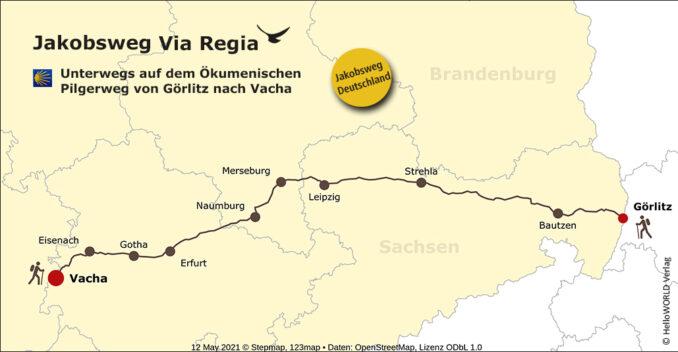 Das ist die Karte mit dem Routenverlauf des Ökumenischen Pilgerweges Via Regia.