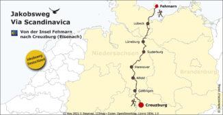 Diese Karte veranschaulicht die Route des deutschen Jakobsweges Via Scandinavica.