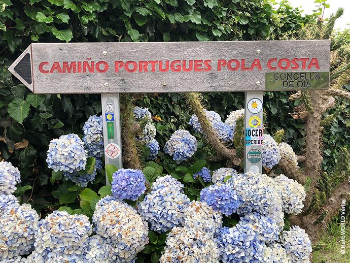 Hier sieht man einen Wegweiser mit der Schrift Camino Portugues pola Costa.